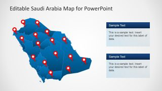 Red Pins and Text Placeholders PowerPoint