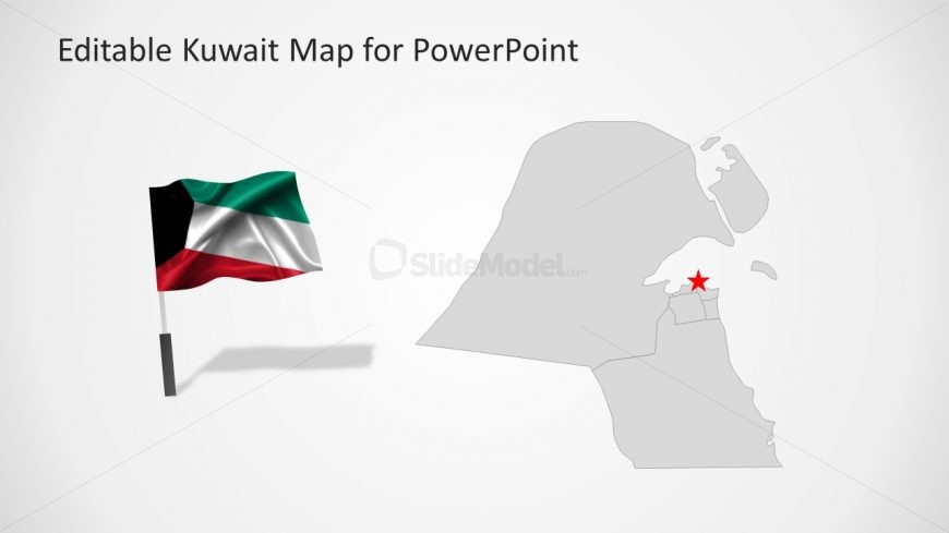 PowerPoint Map with Flag for Middle East Country