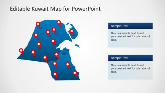 Location Pointer Pins Map of Kuwait PPT