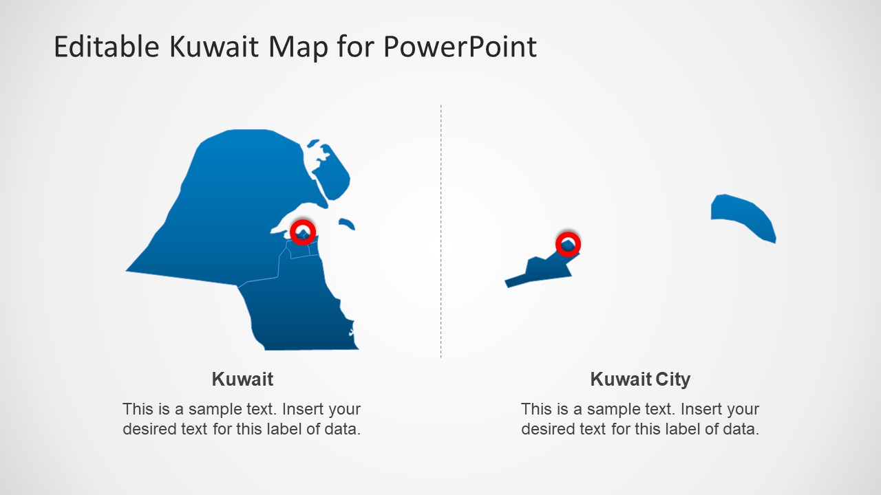 Editable kuwait powerpoint map template slidemodel powerpoint shapes presentation of editable map toneelgroepblik Image collections