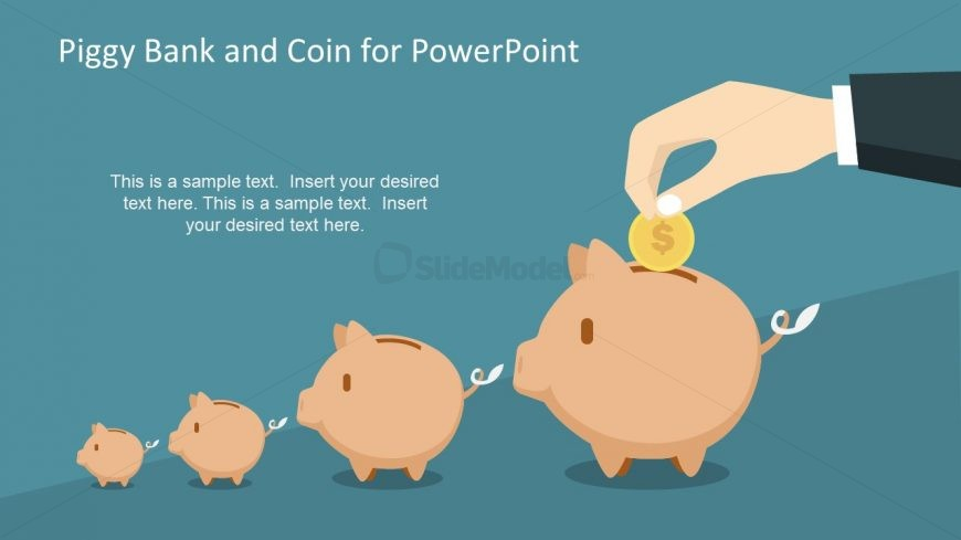 Illustration of Piggy Bank and Coin Slide
