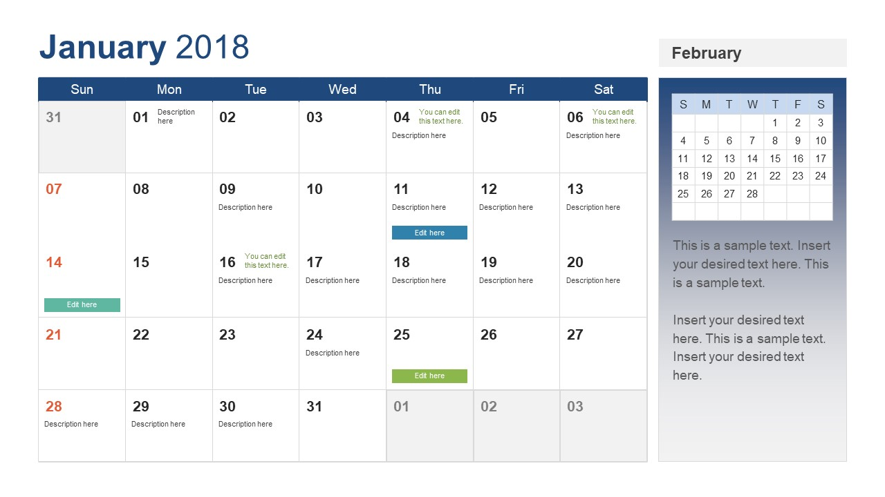 Powerpoint calendar template year 2018 slidemodel month calendar template for january toneelgroepblik Gallery