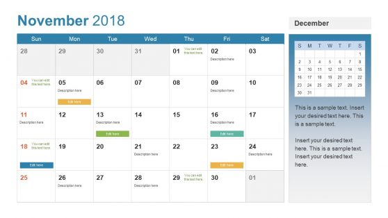 Customizable PowerPoint Calendar for 2018