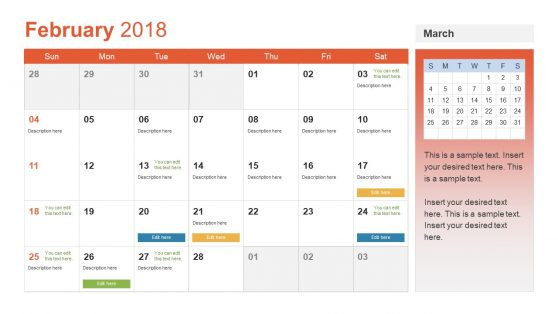 Monthly Calendar for 2018 PPT