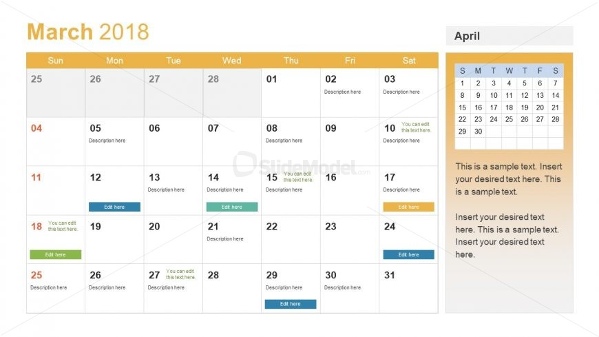 Template of Calendar for March