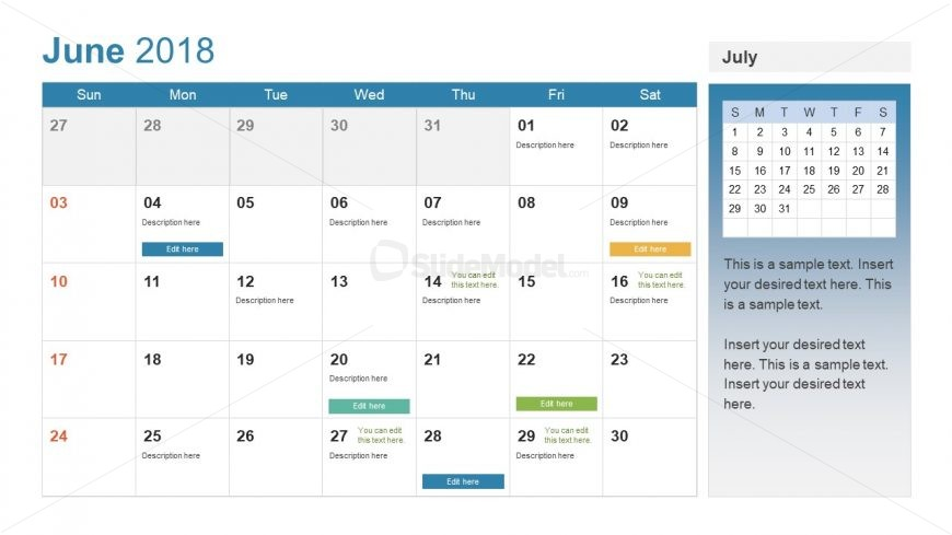 June Calendar Template of Tables and Text