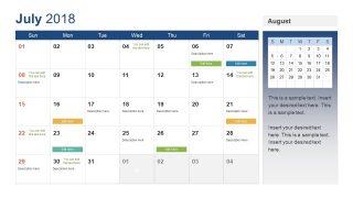 White July Calendar Template Slide