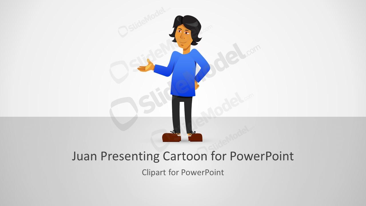 Clipart Cartoon of Presenting Juan