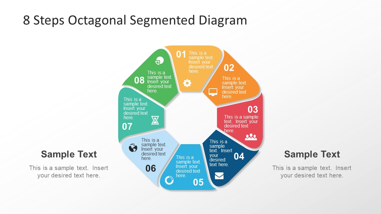 8 steps octagonal rounded segmented diagram