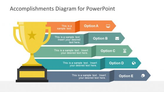 Trophy Shape Accomplishment Diagram PowerPoint