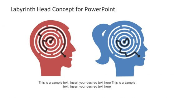PowerPoint Head Concept Labyrinth Shapes