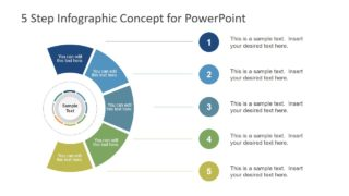Five Steps Circular With Segments PowerPoint Diagram