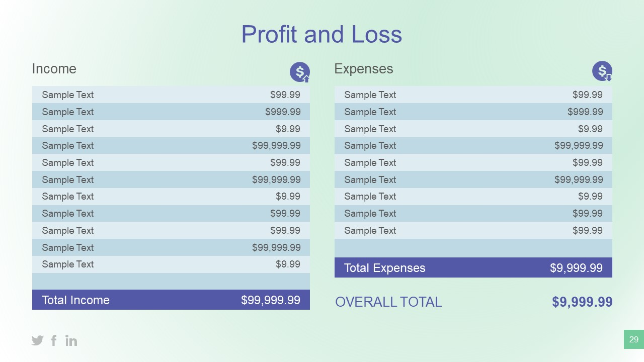 Table Presentation for Financial Data