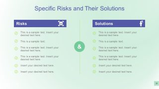 PowerPoint Chart of Risk and Solutions