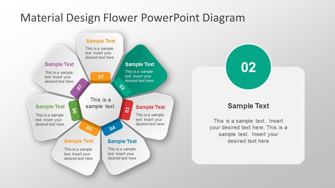 Material Design Flower Powerpoint Diagram Slidemodel