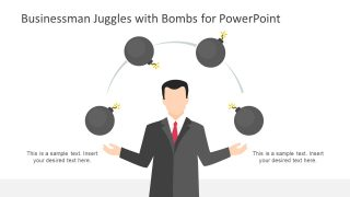 Businessman Juggles with Bombs Illustration for PowerPoint
