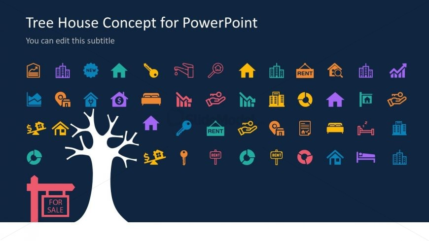Colorful Icons Real Estate Concept