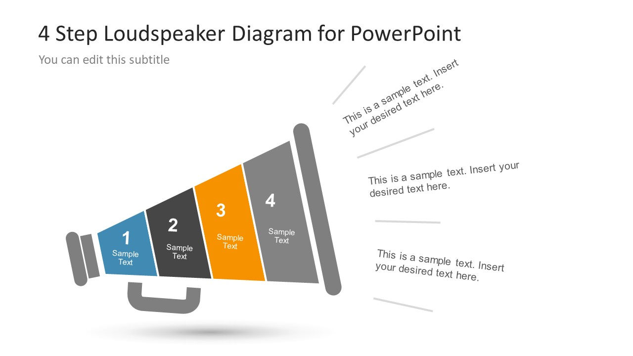 4 Step Diagram Slide Megaphone