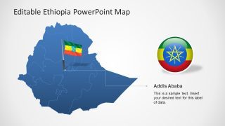 Flag Location Pin in Ethiopia Map