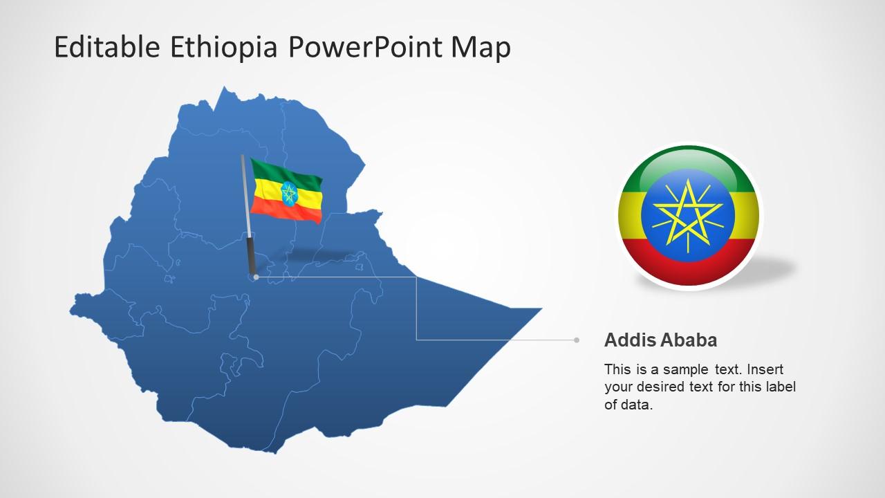 Flag Location Pin in Ethiopia Map