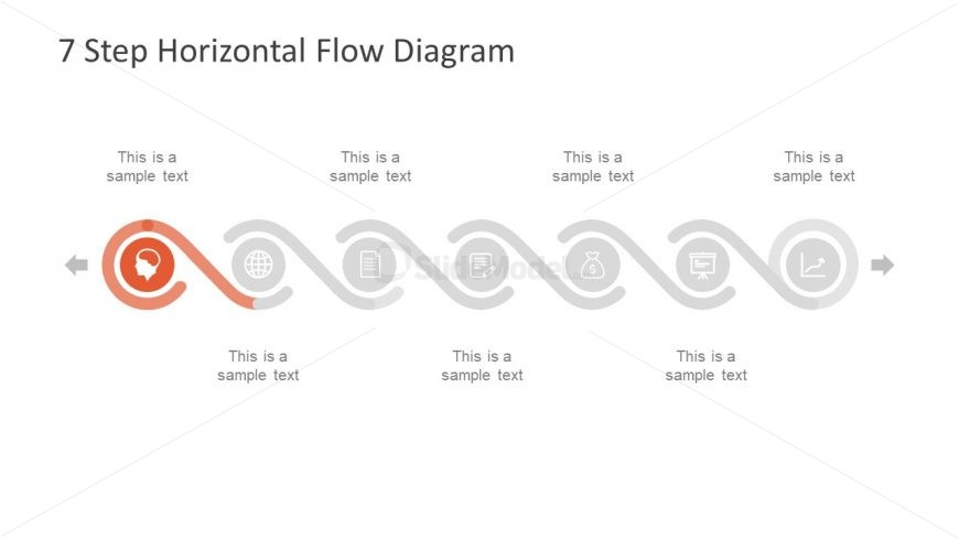 horizontal template timeline of 7 steps
