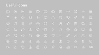 White 96 Icons with Gray Background
