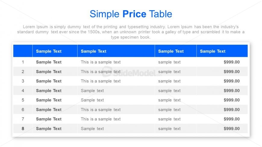 Sample Price Table Business PowerPoint