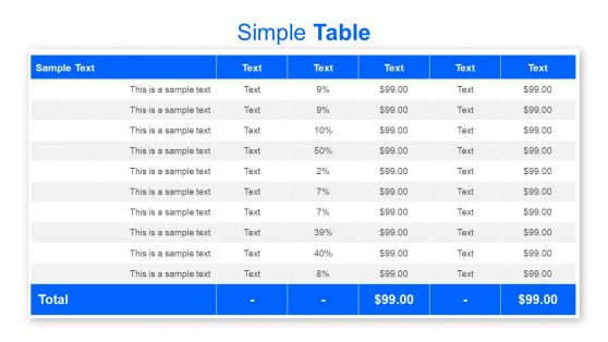 Design of Sample Data Table