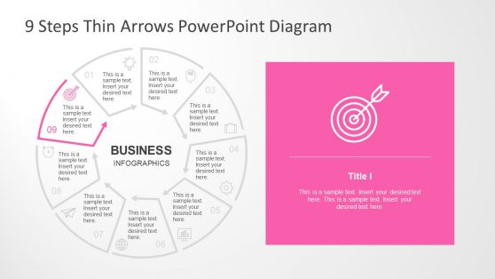 Thin Arrows Presentation of Circular 9 Steps