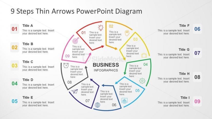 Powerpoint Circular Thin Arrow Diagram Slidemodel
