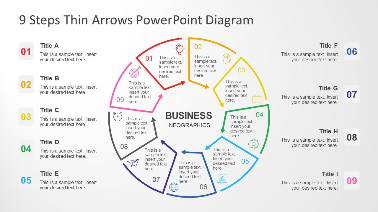 9 Segments PPT Circular Diagram