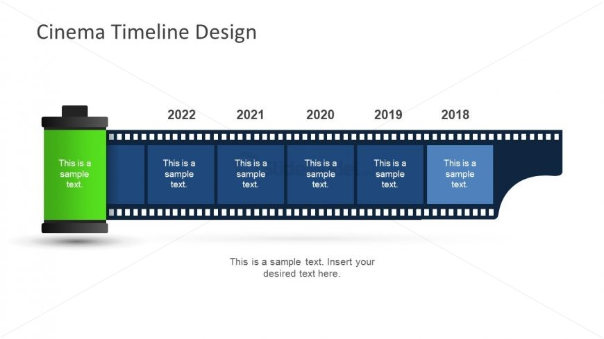 Film reel movie presentation timeline slidemodel green reel of film template timeline maxwellsz