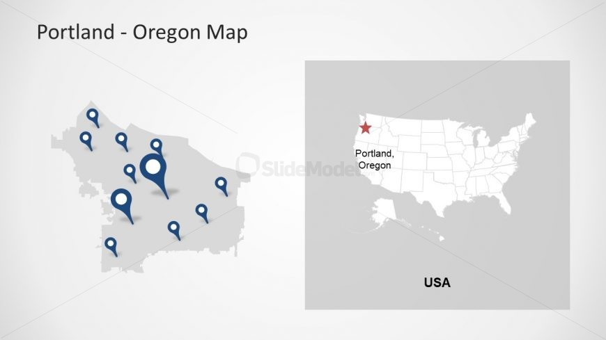 Template Blue Location Pins Portland Map