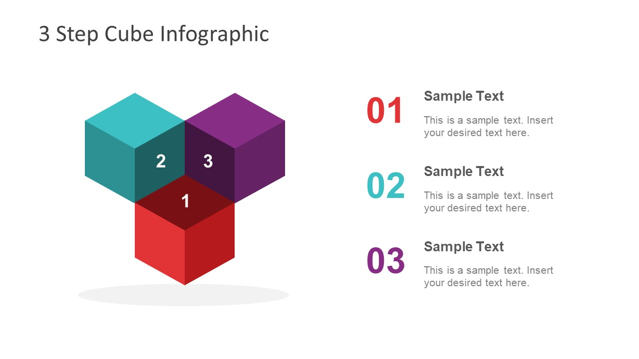 3 Steps Cubes Infographic PowerPoint Diagram