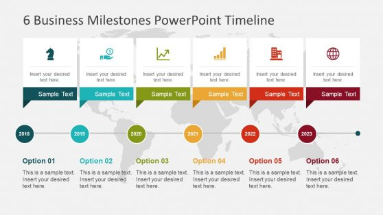 Editable timeline templates for powerpoint 6 milestones slide template toneelgroepblik