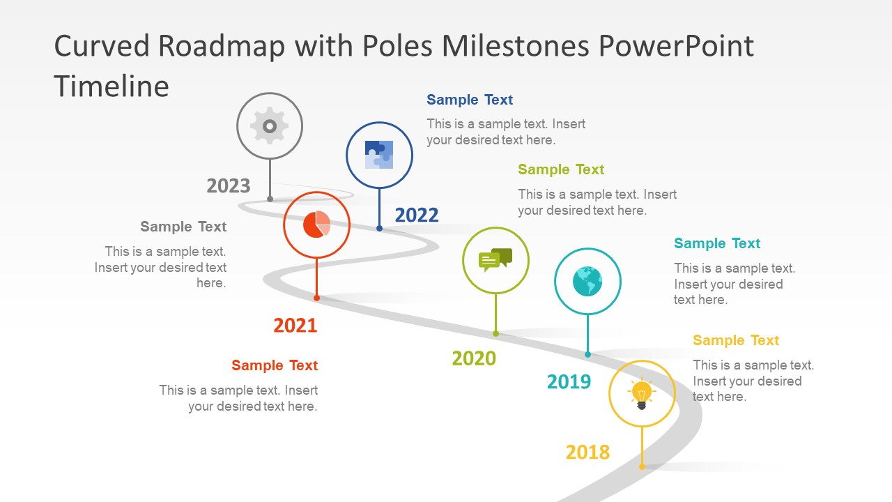 curved roadmap with poles milestones powerpoint timeline