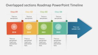 Overlapped sections Roadmap PowerPoint Timeline