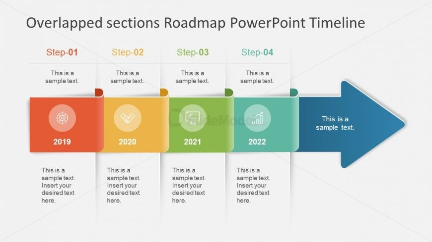 Arrows Overlapping Flat Design PPT
