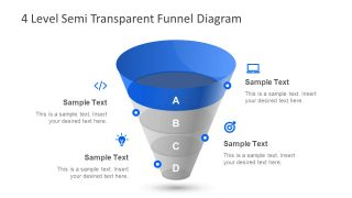4 Level Semi Transparent Funnel Diagram for PowerPoint