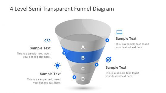 Semi Transparent 3D Funnel PPT