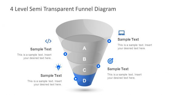 4 Step Semi Transparent PPT Funnel