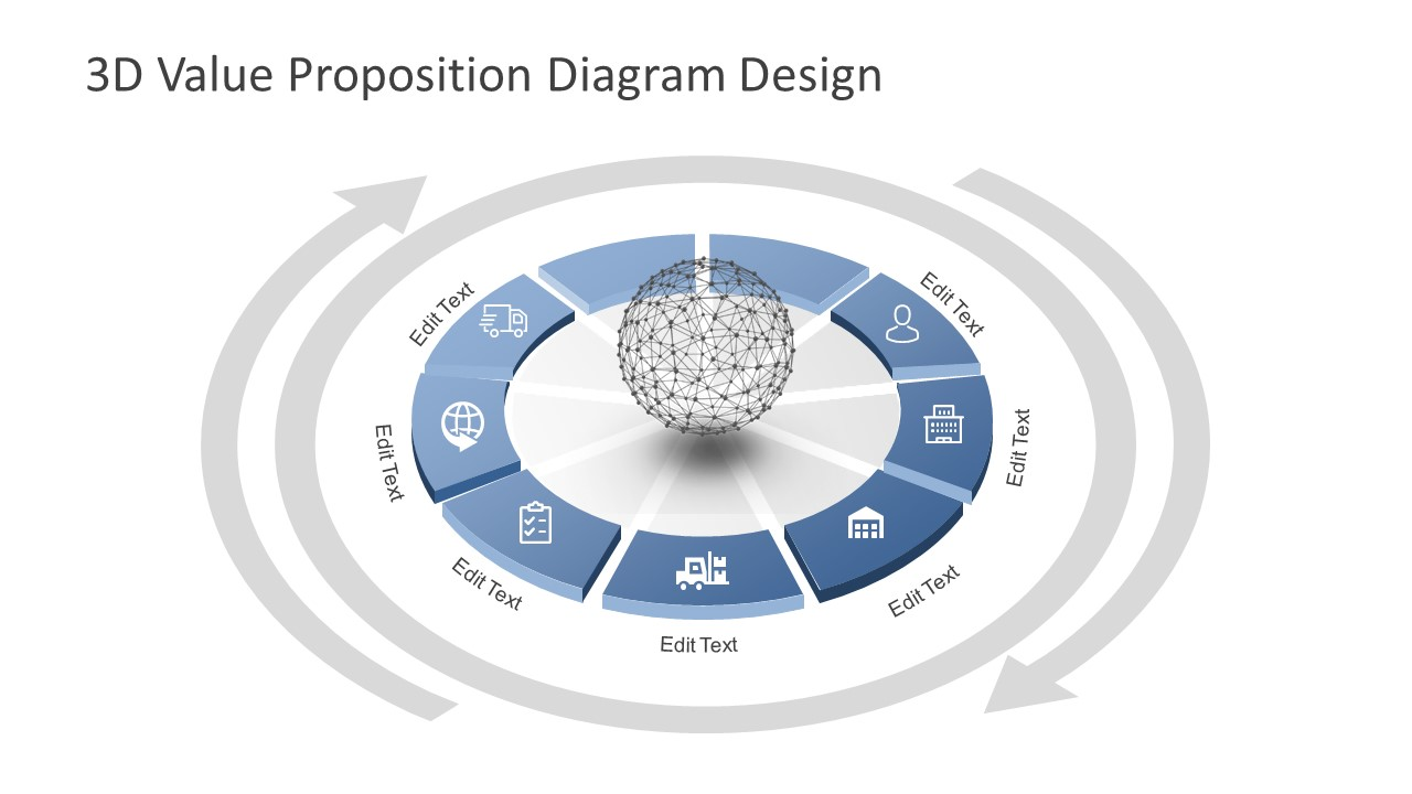 3d value proposition diagram for powerpoint