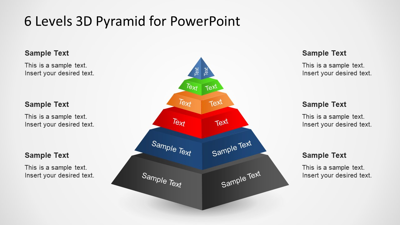 3d Pyramid Template Printable Color It Cut Star Diagram For Powerpoint Slidemodel 6 Levels