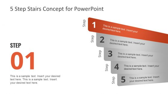 PPT Headline 5 Steps Concept