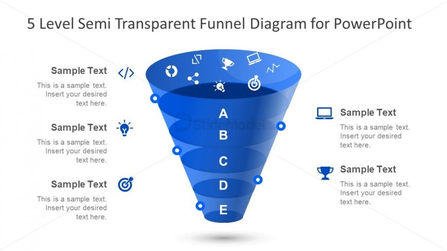 Icons and Shape of Funnel Diagram PPT
