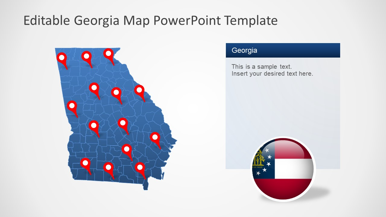 Georgia State Powerpoint Map Template Slidemodel - Us-map-georgia-state