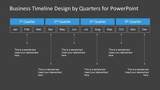 Quarters PowerPoint Timeline Black