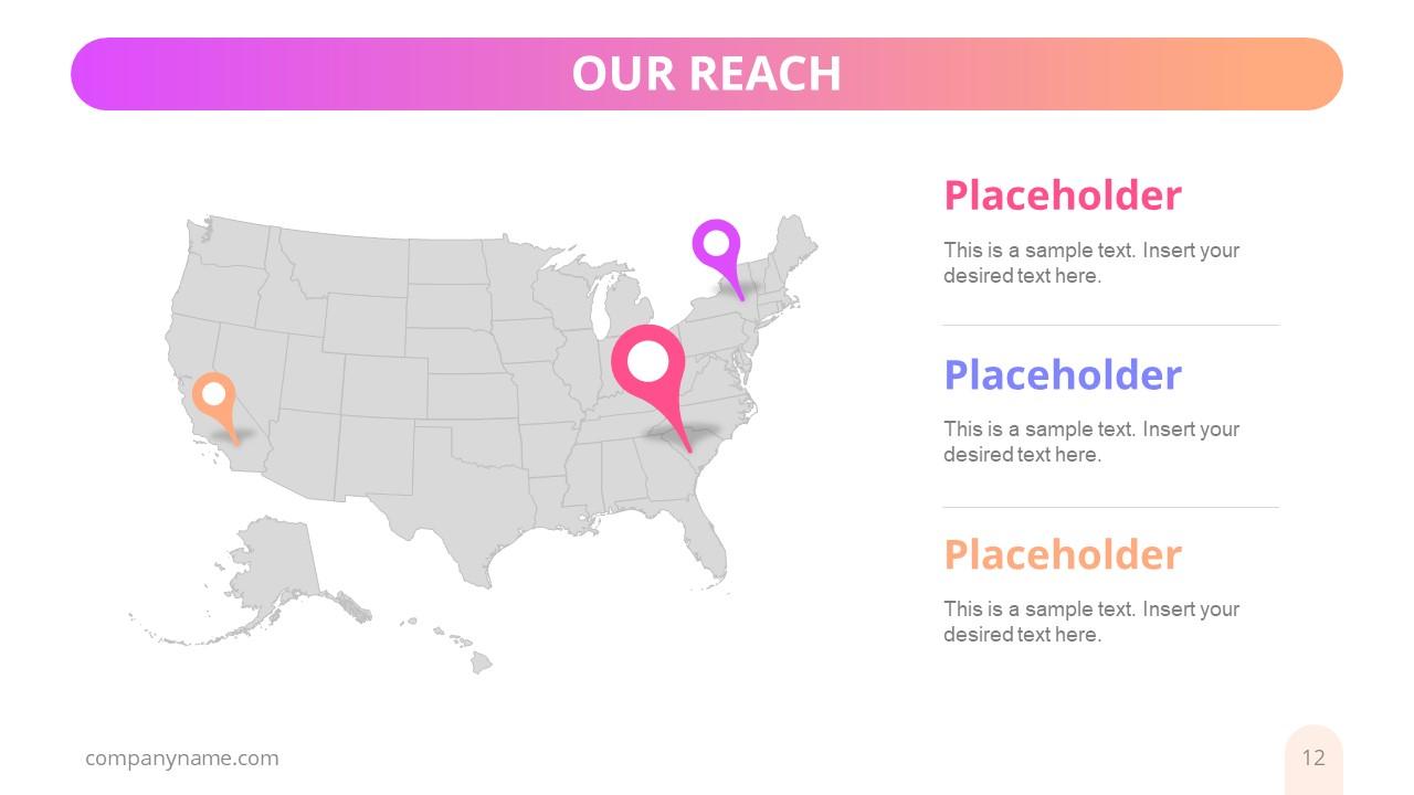 Creative US Map Location Pins