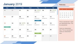 Monthly Calendar 2019 Template