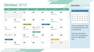 Monthly Calendar 2019 Template October